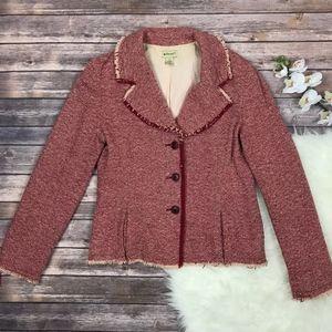 ELEVENSES Tweed Blazer Wool Blend Button Jacket